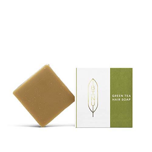 BINU Green Tea Hair Soap | Haarseife mit vitalisierenden Inhaltsstoffen für normales und fettiges Haar | 100g