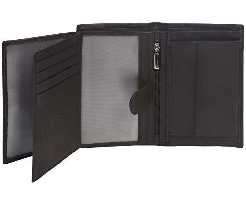 Eono by Amazon - Cartera de Cuero para Mujer y Hombre con diseño Plano y protección contra Lectura RFID (Cuero marrón Vintage/Aspecto Usado) (Piel de napa Vacuno marrón)