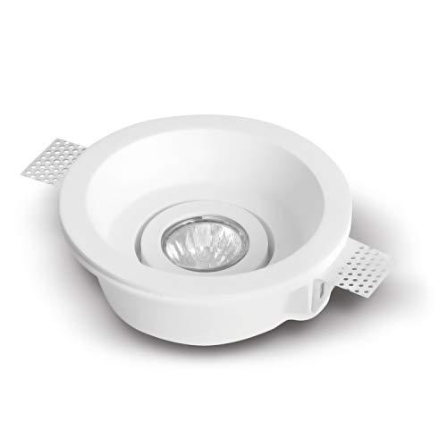 LED Einbaustrahler aus Gips VEGA MAX Rund Weiss Inkl. 1 X IP20 Deckenstrahler Einbauleuchte Deckeneinbaustrahler Deckeneinbauleuchte Deckenspot (drehbar,schwenkbar),1 X Fassung GU10- ohne Leuchtmittel