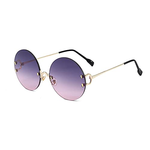 Gafas de sol redondas de marea masculina de esquioscopio HD polarizadas de gafas superfemeninas sin igual, marco de oro sobre polvo gris