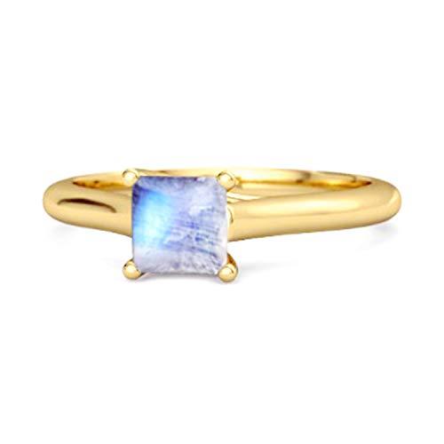 Shine Jewel Multi Elija su Anillo de Plata de Ley 925 Chapado en Oro Amarillo de 0,75 Quilates de Corte Cuadrado con Solitario (15, Piedra de la Luna)