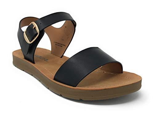 Soda Women's Strappy Flat Sandals Black Jd 9 M US