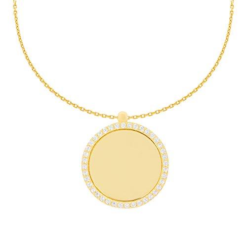 Stella-Jewellery 585er Collierkette mit Gravurplatte Rund Platte Gold Kette mit Zirkonia -Ø17,5 inkl. Etui