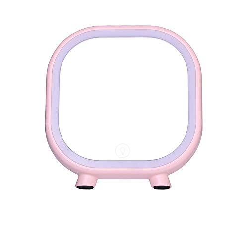 LZLYER Espejo Escritorio Espejo Tocador Baño Decoración para Colgar en la Pared Beautypecial, Led O Lámpara de Mesa Carga Usb Sensores Táctiles Atenuación Chica Regalo,Rosa