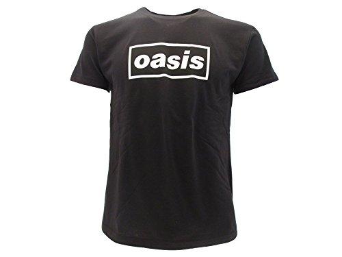Oasis T-Shirt Originale Logo Scritta Anche Dietro Maglia Maglietta Gruppo Nera (S Adulto)
