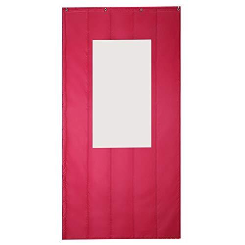 Rails Rosa Roja Cortinas De Puertas Interiores con Ventana Transparente 120x220cm/47.28x86.7in Cortina Aislante Termico para Balcón, Puertas Corredizas, Sala De Estar