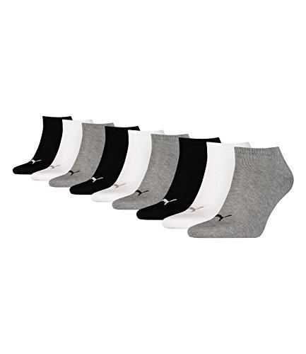 Puma unisex Sneaker Socken Kurzsocken Sportsocken 261080001 9 Paar, Farbe:Mehrfarbig, Menge:9 Paar (3 x 3er Pack), Größe:35-38, Artikel:-882 grey/white/black