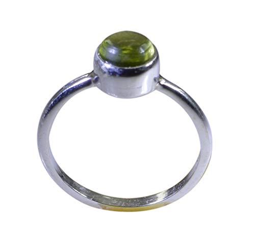 indischer 925er massiver Sterling Silber idealer natürlicher grüner Ring, Peridot grüner Edelstein-Silberring