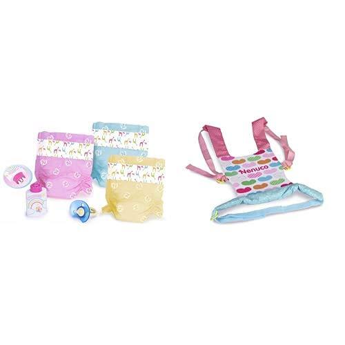 Nenuco - Pañales de Colores, Color/Modelo Surtido + Portabebés, niñas a Partir de 3 años