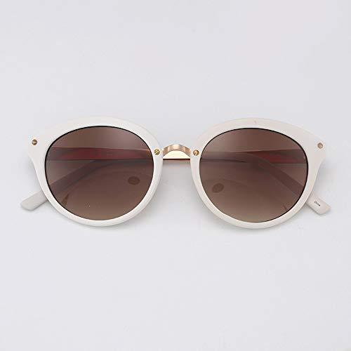 WOYBAOF Gafas de Sol Redondas Vintage para Mujer, Estilo de diseñador clásico, Gafas de Sol de Gama Alta UV400 para Viajes al Aire Libre (Color : White)