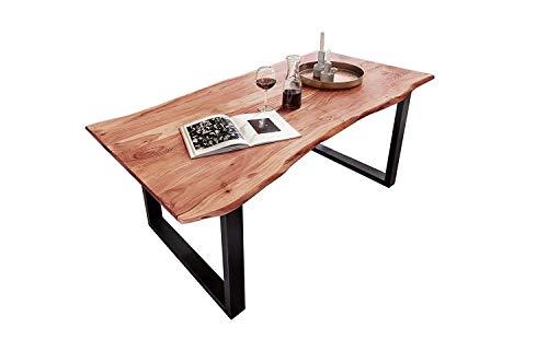 Junado Baumkantentisch Quarto 160 x 85 cm aus Akazie-Holz naturfarben, Esszimmertisch mit schwarz lackierten Beinen, Baumtisch