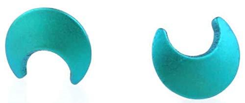 Ti2 Titanium Womens Moon Stud Earrings - Kingfisher Blue