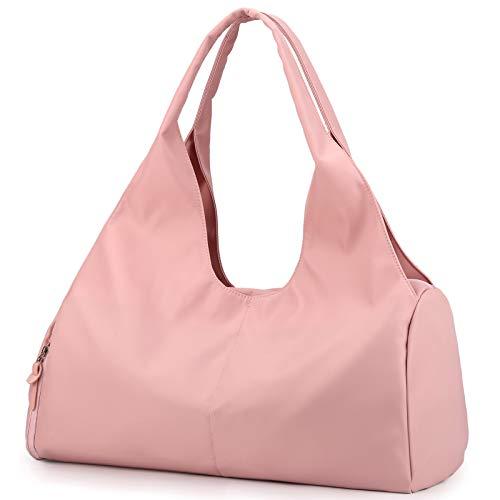 BlesMaller Bolsa de Deporte Bolsa de Viaje con Compartimento para Zapatos y Compartimento húmedo Bolso Bandolera Impermeable Bolso Bandolera Mujer Compras Niñas Equipaje de Mano Playa(Rosa)