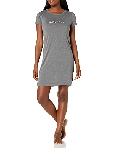 Calvin Klein Damen Motive Cotton Lounge & Sleep Nightshirt Nachthemd, Ashford Grau, Small