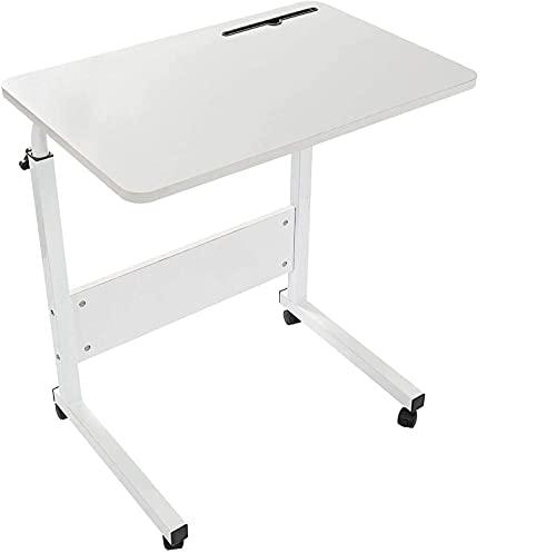 Grandma Shark Escritorio para Computadora Portátil, Mesa de Ordenador Extraíble y Altura Ajustable, Mesa Auxiliar portátil para sofá Cama (80 × 40 cm, Blanco)