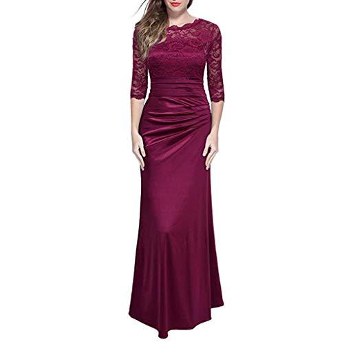 Vestido para mujer, vestido largo de boda delgado de manga 2/3 con encaje formal y floral retro para mujer, vestidos de color sólido de manga larga, para bodas, fiestas de cumpleaños (rojo vino-L)