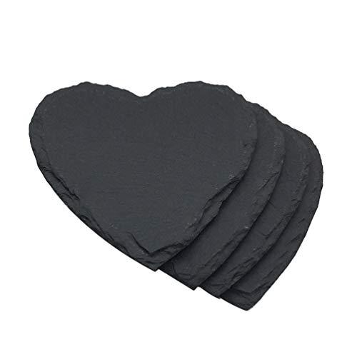PRETYZOOM - Sottobicchieri in pietra nera con sottobicchiere in ardesia rustica, con motivo a cuori, pratici sottobicchieri in ardesia naturale, per bevande e bicchieri da vino
