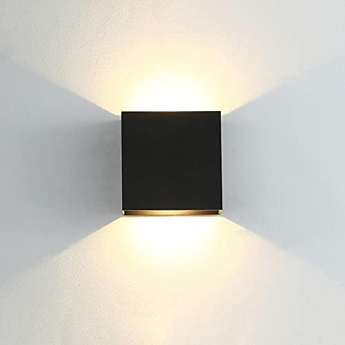Oferta de CYUaoao 1 Pieza de Aplique LED de Pared 7W Interior/ Exterior Aplique de Pared LED Negro Apliques de Luz Cálido 3000K Lámpara de Pared LED Impermeable Ip65 [Clase de Eficiencia Energética A++ ]