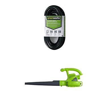 Greenworks 24012 7 Amp Single Speed Electric 160 MPH Blower and 50' Indoor/Outdoor Extension Cord