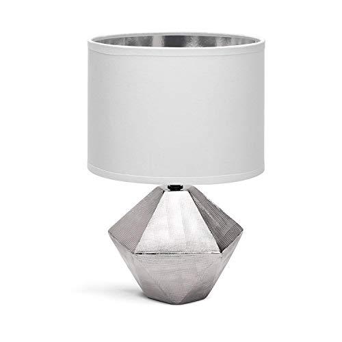 Aigostar - Lámpara de Mesa, φ220mm. Forma de diamante, Plateado. Lámpara de Cerámica E14, Pantalla de Tela, Lámpara Escritorio Diseño moderno para Estudio, Salón, H32cm