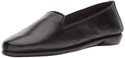 Aerosoles womens Betunia loafers shoes, Black Leather, 5.5 US