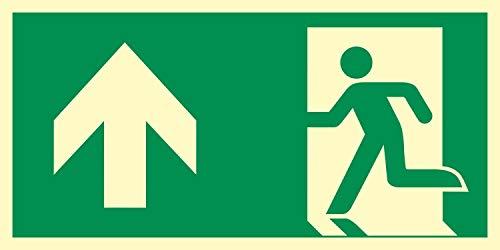 Rettungsweg Geradeaus Notausgang Rettungswegschild Schild Nachleuchtend ASR A1.3 300 x 150 mm