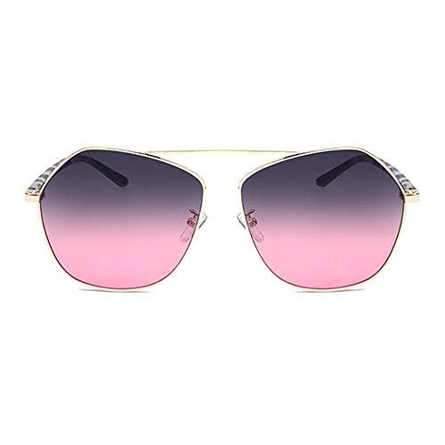 MGWA gafas de sol Poligonal Frontera Personalidad Moda Gafas De Sol Gris Polvo Degradado Lente UV400 Protección Leopardo Piernas Unisex