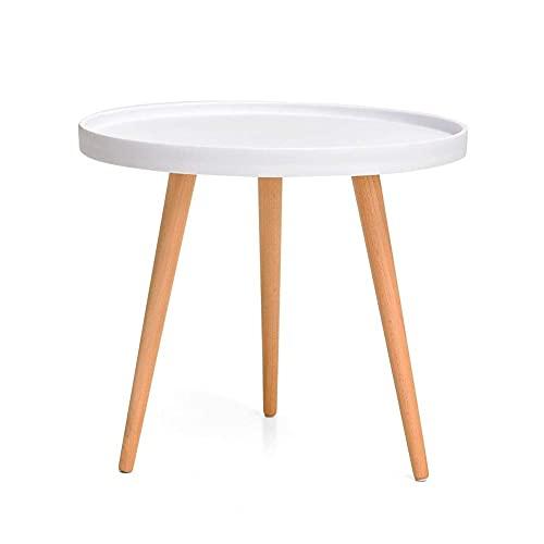 Mesa auxiliar moderna minimalista de madera maciza redonda pequeña mesa de café PP para oficina, dormitorio, sala de estar, zona de ocio, negro, blanco (color: blanco)