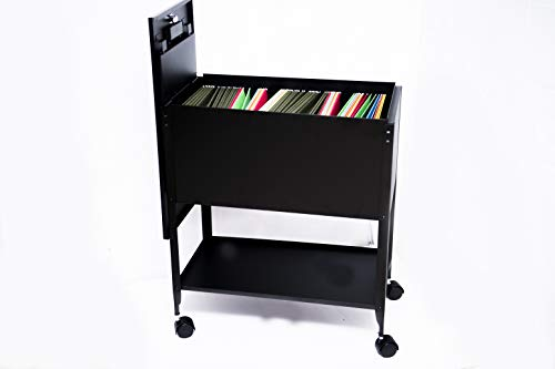 File Rolling Cart with Lid Drawer on Wheels Storage Lock Open Top Shelf Organizer Up to 180 Letter-Size Hanging Folders Locking Heavy Duty Cabinet Box Shuttle Metal Easy-Roll Mobile Tub & eBook