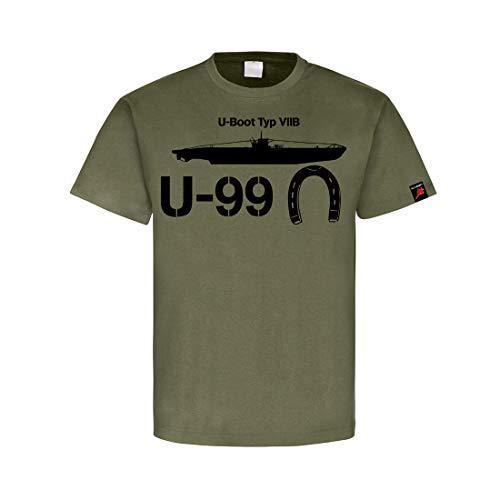U-Boot Typ VIIB U-99 Marine Germaniawerft Kiel Hufeisen T-Shirt Oliv #31982, Größe:M, Farbe:Oliv