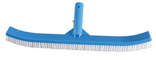 SIQUA Cepillo para Piscina con fijacion de Clip, indicado para la Limpieza de Paredes, Azulejos y Suelos.Fabricado en polimero Reforzado de Larga duración, Resistente a la Intemperie