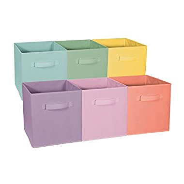 Sorbus Foldable Storage Cube Basket Bin - Great for Nursery, Playroom, Closet, Home Organization (Pastel Multi-Color, 6 Pack)