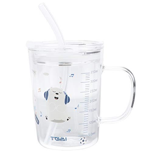 YARNOW 350Ml Bicchiere da Latte per Bambini con Scala Brocca Graduata con Coperchio E Cannuccia in Silicone per Bambini Bicchiere d'Acqua in Vetro Temperato Misurino Tazza per Succo di