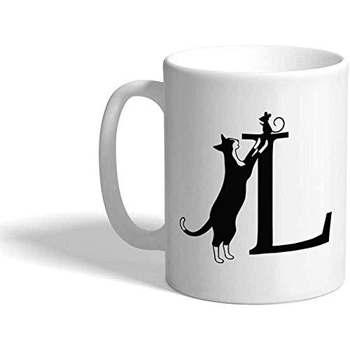 Taza de café personalizada 330 ml Alfabeto Letra L Monogramas de gato Diseño de taza de té de cerámica