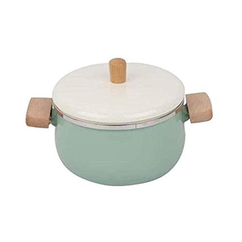 Esmalte leche Pan, utensilios de cocina caliente crisol de la sopa olla con tapa Estufa Fogón de gas utensilios de cocina DAGUAI (Color : Green)