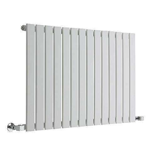 Hudson Reed Radiador de Diseño Moderno Horizontal Delta - Radiador con Acabado Blanco - Paneles Planos - 635 x 980mm - 876W - Calefacción de Lujo