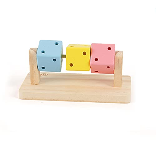 IRYNA Pequeña mascota masticar juguetes plataforma de madera con bloques de madera coloridos para conejo hámster gerbil degu Bunny Cage accesorios