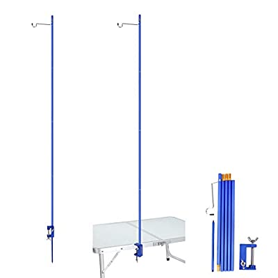 REDCAMP Collapsible Lantern Stand for Camping, 72in Adjustable Heights Lightweight Aluminum Alloy Outdoor Lantern Pole Hanger with Stake End, Blue