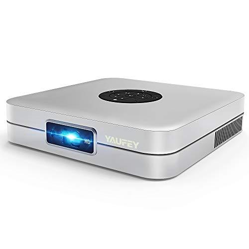 Yaufey Mini DLP Projektor, 4000 Lumens WiFi Video Beamer Kompatibel Smartphone, Android Heimkino Beamer Unterstützt HD 1080P HDMI / USB / Bluetooth - mit Stativ