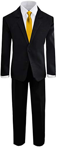 Black N Bianco Boys Formal Black Suit with Shirt and Vest (2T, Black with Gold Tie)