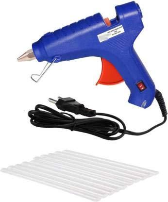 NBS 20W Neon Glue Gun (Blue) with 10 Glue Sticks 7 mm Each for School Project, Crafts, Handicrafts