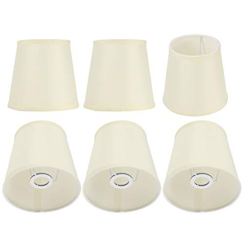 Pantalla de lámpara de 6 piezas, decoración moderna del hogar, pantallas de tela de lino fino, pantalla de luz de decoración de arte nórdico simple para lámpara de pared E14 de 14 mm, araña de cristal