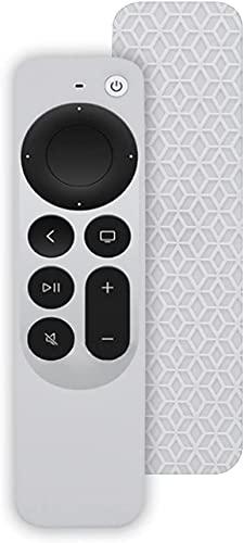Funda de Silicona con Todo Incluido para el Mando a Distancia Apple TV 4K 2021, Funda Protectora Ligera antipérdida [Antideslizante] Soporte de Piel a Prueba de Golpes (Blanco)
