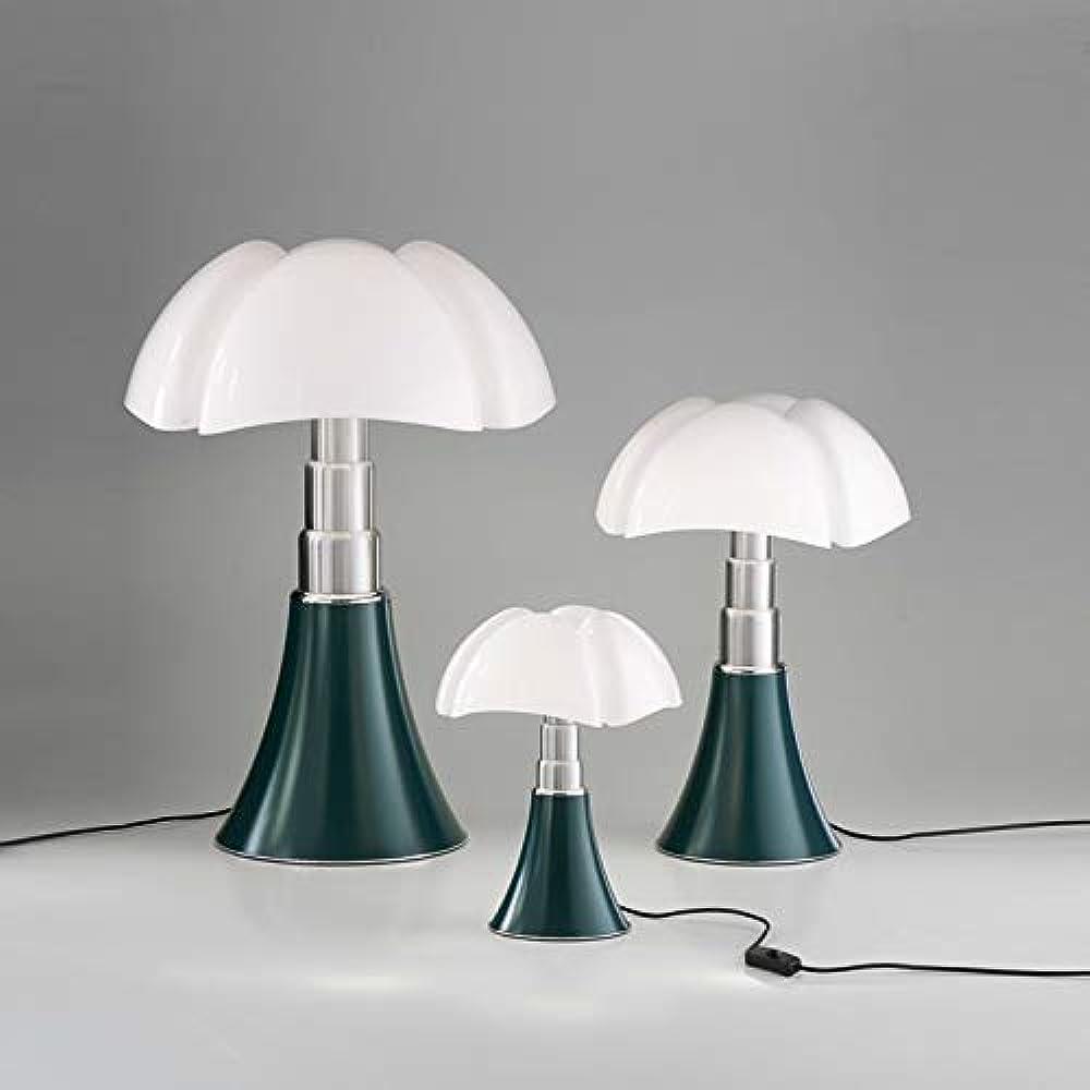 Martinelli luce pipistrello,lampada da tavolo  verde agave,in alluminio,acciaio,e metacrilato bianco 620/VE