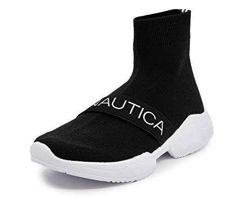 Nautica Women Wave Hill High-Top Sock Slip-On Sneaker Ankle Boots-Black -8.5