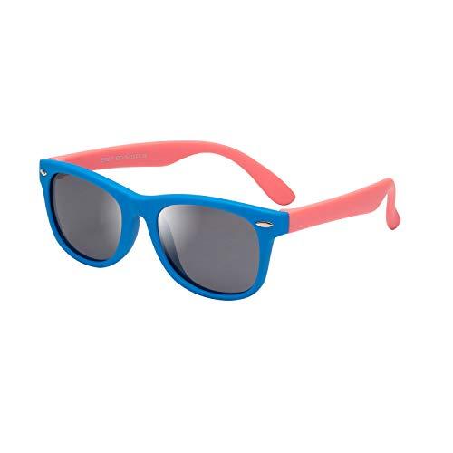 LianSan Gafas de sol polarizadas de goma para niños, 100 % protección UV 400, irrompibles, flexibles, seguridad para bebés, niños, niñas, jóvenes, niños de 3 a 12 años Marco azul con brazos rosa. S