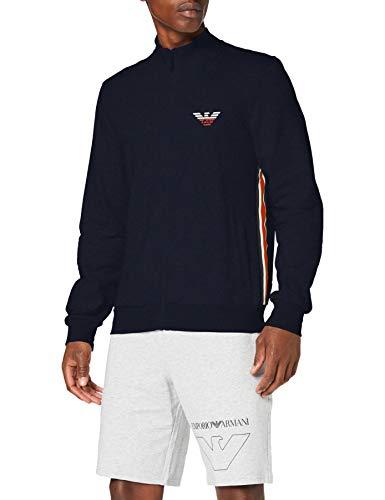Emporio Armani Underwear Herren Homewear - Iconic Terry Sweater Sweatshirt, Blau (Marine 00135), Small (Herstellergröße:S)