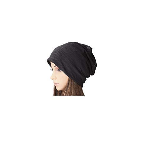 SUOSDEY Women's Cotton Beanie Lightweight Turban Slouchy Beanie Hat Cap Black