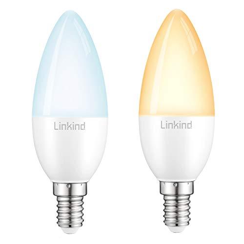 Linkind Bombilla Inteligente Vela LED, Zigbee E14 5.4W, Equivalentes de 40W, Luz Blanca Ajustable, Hub Requerido, Compatible con Echo Plus/Echo Show(2nd Gen)/HUE Bridge/SmartThings Hub, Paquete de 2