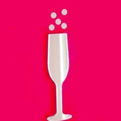 ServeWell Champagne fluit en bubbels muur spiegel